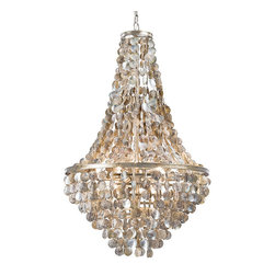 Frontgate - Capri Abalone Chandelier - Handcrafted with hundreds of real abalone seashells. Coordinating gold frame and links. Three 60 watt bulbs (not included). Clear bulbs will maximize iridescence. 6' chain and cord can be adjusted to fit any ceiling height. Layer upon layer of iridescent abalone shells glisten magnificently overhead with our Capri Abalone Chandelier. The perfect decorative piece for a foyer, staircase, above the dining table or your high ceiling living room, the chandelir's translucent neutral colors capture and reflect light, enlivening a room with the allure of the sea. . . .  .  . Hardwire; professional installation recommended. Clean with a soft dry cloth or static duster. 120V. UL listed.