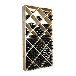Country Pine Series 208-Bottle Solid Bin Wine Rack - The Country Pine Series 208-Bottle Solid Bin Rack features diamond bins that are designed for bottle-on-bottle storage. The storage compartments are partial bottle depth (8.75 inches) for easy access. This wine rack has solid sides and is made from a knotty grade of Pine wood that is sought after for its rustic beauty. Use as an individual storage rack or mix and match to create your own wine cellar. This wine rack has 24 open bins for a storage capacity of 208 bottles of wine. The squared bins hold 16 bottles each. Each full bin is engineered to hold 9 magnums 12 champagnes and 16 standard bordeaux bottles. Assembly instructions assembly hardware and wall mounting hardware are all included with this wine rack. About Wine Cellar InnovationsWine Cellar Innovations is the world's foremost designer and manufacturer of custom wine cellars and wine racks. Founded more than 20 years ago Wine Cellar Innovations continues to offer creative and functional wine storage solutions while expanding new horizons in refrigeration 3D color design and 3D virtual reality walk-throughs. Wine Cellar Innovations is located in Cincinnati Ohio.