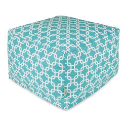 Majestic Home Goods - Teal Links Large Ottoman - Add a little character to your living room or patio with the Majestic Home Goods Teal Links Large Ottoman. This Ottoman is the perfect accessory to add comfort and style to any room while functioning as a decorative foot stool, pouf, or coffee table. Woven from outdoor treated polyester, these ottomans have up to 1000 hours of U.V. protection and are able to withstand all of nature's elements. The beanbags are eco-friendly and feature a zippered slipcover. Spot clean slipcover with mild detergent and hang dry. Do not wash insert.