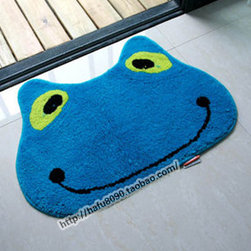 Lovely Cartoon Flog Non-slip Bath Rug - This rug is yard dyed not printed. Colors go to the base of rug, instead of just sitting on top. This rug is super soft. Unique high-low cut pile design gives added dimension to the fun dot design. Heavy textured latex rubber backing is non-slip/non-skid for safety in moist environments. This rug will maintain it's loft in the pile over time. Very easy to care for.