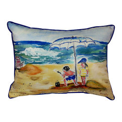 Betsy Drake - Betsy Drake Boy at Beach Pillow- Indoor/Outdoor - Boy at the Beach Pillow- Large indoor/outdoor pillow. These versatile pillows are equal at enhancing your homes seaside decor and adding coastal charm to an outdoor setting arrangment. They feature printed outdoor, fade resistant fabric for years of wear and enjoyment. Solid back, polyfill. Proudly made in the USA.
