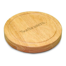 "Picnic Time - Northeastern University Circo Cheese Board - The Circo by Picnic Time is so compact and convenient, you'll wonder how you ever got by without it! This 10.2"" (diameter) x 1.6"" circular chopping board is made of eco-friendly rubberwood, a hardwood known for its rich grain and durability. The board swivels open to reveal four stainless steel cheese tools with rubberwood handles. The tools include: 1 cheese cleaver (for crumbly cheeses), 1 cheese plane (for semi-hard to hard cheese slices), 1 fork-tipped cheese knife, and 1 hard cheese knife/spreader. The board has over 82 square inches of cutting surface and features recessed moat along the board's edge to catch cheese brine or juice from cut fruit. The Circo makes a thoughtful gift for any cheese connoisseur!; College Name: Northeastern University; Mascot: Huskies; Decoration: Laser Engraving; Includes: 1 Hard cheese knife, 1 Cheese shaver, 1 Fork-tipped cheese knife, 1 Cheese spreader"