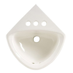 "American Standard - American Standard 0451.021.020 Corner Minette Wall-Mount Sink, White - American Standard 0451.021.020 Corner Minette Wall-Mount Sink, White. This wall-hung corner lavatory sink is constructed of vitreous china, and features a front overflow, 4"" centered faucet mount holes, a faucet ledge, and is supplied with 2 wall hangers for an easy installation. It measures 11"" by 16-3/4"", with a 5-1/4"" bowl depth."