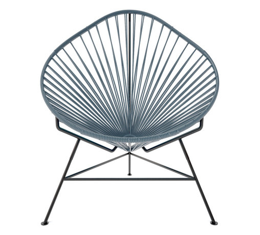 Acapulco Chair, Grey Weave On Black Frame - The Acapulco Chair - contemporary lounge or occasional chair suitable for indoors and out.  Composed of a tripod metal base and seat woven with vinyl cord. The Acapulco chair is similar in construction and form to our Innit chair though slightly more reclined with a pear shaped frame.  The galvanized steel is rust resistant and the very durable yet flexible, UV protected vinyl will stay colorfast for years.  This chair is incredibly comfortable without a cushion.  Its weatherproof, breathable, easy to clean, and available in everybodys favorite color. *Please refer to swatch image for accurate product color variations.