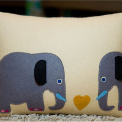 Stella and Petey Elephant Pillow - This charming handmade pillow is of course fun for a child's bedroom or playroom, but will also add some fun personality to a grown-up living room sofa!