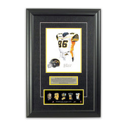 "Heritage Sports Art - Original art of the CFL 2005 Hamilton Tiger-Cats uniform - This beautifully framed piece features an original piece of watercolor artwork glass-framed in an attractive two inch wide black resin frame with a double mat. The outer dimensions of the framed piece are approximately 17"" wide x 24.5"" high, although the exact size will vary according to the size of the original piece of art. At the core of the framed piece is the actual piece of original artwork as painted by the artist on textured 100% rag, water-marked watercolor paper. In many cases the original artwork has handwritten notes in pencil from the artist. Simply put, this is beautiful, one-of-a-kind artwork. The outer mat is a rich textured black acid-free mat with a decorative inset white v-groove, while the inner mat is a complimentary colored acid-free mat reflecting one of the team's primary colors. The image of this framed piece shows the mat color that we use (Yellow). Beneath the artwork is a silver plate with black text describing the original artwork. The text for this piece will read: This original, one-of-a-kind watercolor painting of the 2005 Hamilton Tiger-Cats uniform is the original artwork that was used in the creation of this Hamilton Tiger-Cats uniform evolution print and thousands of other Hamilton Tiger-Cats products that have been sold across North America. This original piece of art was painted by artist Nola McConnan for Maple Leaf Productions Ltd. Beneath the silver plate is a 3"" x 9"" reproduction of a well known, best-selling print that celebrates the history of the team. The print beautifully illustrates the chronological evolution of the team's uniform and shows you how the original art was used in the creation of this print. If you look closely, you will see that the print features the actual artwork being offered for sale. The piece is framed with an extremely high quality framing glass. We have used this glass style for many years with excellent results. We package every piece very carefully in a double layer of bubble wrap and a rigid double-wall cardboard package to avoid breakage at any point during the shipping process, but if damage does occur, we will gladly repair, replace or refund. Please note that all of our products come with a 90 day 100% satisfaction guarantee. Each framed piece also comes with a two page letter signed by Scott Sillcox describing the history behind the art. If there was an extra-special story about your piece of art, that story will be included in the letter. When you receive your framed piece, you should find the letter lightly attached to the front of the framed piece. If you have any questions, at any time, about the actual artwork or about any of the artist's handwritten notes on the artwork, I would love to tell you about them. After placing your order, please click the ""Contact Seller"" button to message me and I will tell you everything I can about your original piece of art. The artists and I spent well over ten years of our lives creating these pieces of original artwork, and in many cases there are stories I can tell you about your actual piece of artwork that might add an extra element of interest in your one-of-a-kind purchase."