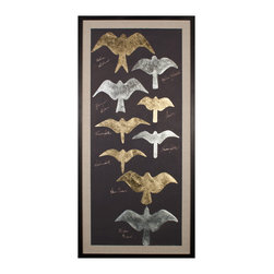 Tolstoys Birds 1, Gold Leaf - Varied shades of metallic leaf fill the silhouettes of several species of birds of prey in these dark and distinctive art prints for the birder, the lover of nature, or the bold transitional decorator.  The rectangular Tolstoy's Birds artworks are created in gleaming antiqued metal shades on panels of black paper which has been hand-deckled and floated on beds of linen within well-turned black frames.  The effect is stunning: dramatic enough to catch the eye in any room.