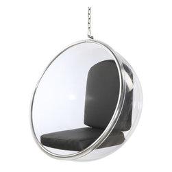 Lemoderno - Bubble Hanging Chair Cushion By Lamoderno, Black Cushion - Dimensions: W41' x D32' x H42'