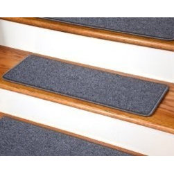 """Dean Flooring Company - Dean DIY Peel and Stick Non-Skid Carpet Stair Treads - Steel Gray (13) 27""""x9"""" - Dean DIY Peel and Stick Serged Non-Skid Carpet Stair Treads - Steel Gray (13) 27"""" x 9"""" Runner Rugs : Non-skid Peel and Stick DIY Carpet Stair Treads by Dean Flooring Company. Extend the life of your high traffic hardwood stairs. Reduce slips/increase traction. Cut down on track-in dirt. Reduce noise. Add a fresh new look to your staircase. Helps you and your dog easily navigate your slippery hardwood stairs. 100% Polypropylene. Set includes 13 peel and stick carpet stair treads easy, do-it-yourself installation. Our all new exclusive adhesive peel and stick strips (not double-sided tape) make do-it yourself installation a breeze. Adhesive will NOT damage your hardwood flooring. Easy to remove if you later decide to remove your carpet stair treads. Adhesive strips come pre-applied. No additional installation products needed. You choose the size from the drop down list. Each tread is finished with attractive color matchng yarn. Rounded corners. This product is manufactured and sold exclusively by Dean Flooring Company. Add a touch of warmth and style to your stairs today with new stair treads from Dean Flooring Company!"""