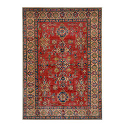 """ALRUG - Handmade Red/Rust Oriental Kazak Rug 6' 1"""" x 9' 1"""" (ft) - This Afghan Kazak design rug is hand-knotted with Wool on Cotton."""