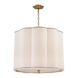 Hudson Valley - 5 Light ChandlierSweeny Collection - With gently bowed sides and a soft neutral tone, Sweeny's fabric shade invokes the welcoming minimalism of modern design.  Decorative canopies mirror the shade's seashell curves, while egg-shaped chain-links and finials further the exploration of organic