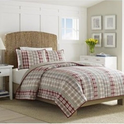 Nautica Harbor Hill Cotton Pieced Reversible Quilt with Optional Shams - Red, tan, and classic plaid all over, the unique stripes of the Nautica Harbor Hill Cotton Pieced Reversible Quilt with Optional Shams is so perfect for those who tend to lean more toward the preppy. Both the reversible quilt (reverses to solid stone color) and the optional matching shams are crafted from soft, durable 100% cotton for extra comfort. The best things about this set, aside from it's smart appeal, is that it's conveniently machine-washable and comes in your choice of size and configuration to best suit your bedding needs.Quilt Dimensions:Twin: 68 x 88 in.Full/Queen: 90 x 90 in.King: 104 x 96 in.