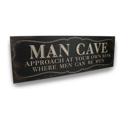 "Zeckos - Wooden ""Man Cave"" Sign With Vintage Finish Wall Hanging 30 in. - Let them know you mean business with this cool Man Cave sign proudly hanging on the wall. Crafted from wood, it boasts a unique vintage design and an antique finish that will add character to walls in any game-room, garage, workshop, pub or anywhere you wish to stake your claim (with permission from the Missus, of course) Ladies, hang this over a bathroom door to give your man his own space at 30 inches long (76 cm), 10 inches high (25 cm), and 3/4 inches wide (2 cm), it'll make quite a statement and easily hangs on the wall with just 2 nails or screws using the attached hangers on the back. It would make a super fun any time gift, no holiday or birthday necessary"