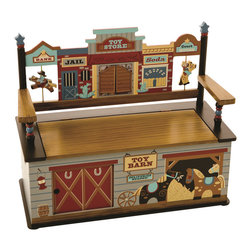 Levels of Discovery - Wild West Bench Seat with Storage - Nostalgic western town seat back design includes sheriff's star finials, Good Guy & Bad Guy on horseback and Toy Store doors that open and close Sliding Toy Barn door opens to store toys, books and more Slow-closing metal safety hingeWestern town seat back. Toy Store doors open & close. Sliding door. Slow-closing metal safety hinge. All products have instructions included for assembly