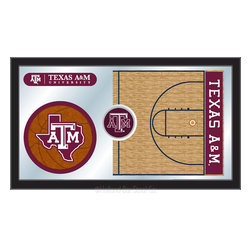 "Holland Bar Stool - Holland Bar Stool Texas A&M Basketball Mirror - Texas A&M Basketball Mirror belongs to College Collection by Holland Bar Stool The perfect way to show your school pride, our basketball Mirror displays your school's symbols with a style that fits any setting.  With it's simple but elegant design, colors burst through the 1/8"" thick glass and are highlighted by the mirrored accents.  Framed with a black, 1 1/4 wrapped wood frame with saw tooth hangers, this 15""(H) x 26""(W) mirror is ideal for your office, garage, or any room of the house.  Whether purchasing as a gift for a recent grad, sports superfan, or for yourself, you can take satisfaction knowing you're buying a mirror that is proudly Made in the USA by Holland Bar Stool Company, Holland, MI.   Mirror (1)"