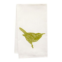 "artgoodies - Organic Wren Tea Towel - This high quality 100% certified organic cotton tea towel was custom made just for artgoodies! Hand printed with one of my original linocut block print images it measures 20""x28"" and comes wrapped in a green ribbon made from 100% recycled plastic bottles! Nice and absorbent for drying dishes, looks great when company is over, and makes a great housewarming gift!"