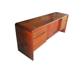 Mid Century Modern Minimalist Office / Home Wood Credenza - www.shopcuratedgoods.com