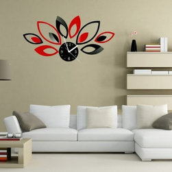 ColorfulHall Co., LTD - Wall Mirror Decals Red Black Leaf With Clock, Black & Red - Wall Mirror Decals Red Black Leaf with Clock