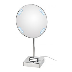 WS Bath Collections - Discololed Lighted 3x Magnifying Makeup Mirror - Discololed 37-1 x3 by 9.1 Dia. x 16.2, Free Standing Magnifying Mirror with LED Light, External Power Supply with Plug, in Chromed Plated Brass Structure and Frame in Chromed Plated Abs, External Power Supply with Plug LED Light, Free Standing 3x Magnification, Made of Chromed Plated Brass Free of Distortions, Made in Italy