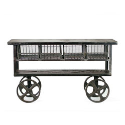 Fillmore Industrial Style Rolling Console Table - Whenever you need an extra tabletop, roll this fashionable wood and iron table over. Or, keep it stationary as your permanent coffee table. Stash your odds and ends in the mesh wire baskets and kick your feet up.