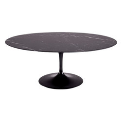 "Fine Mod Imports - Flower 78"" Oval Table with Black Marble Top - Features:"