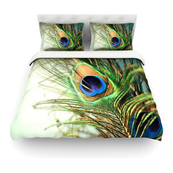 "Kess InHouse - Sylvia Cook ""Teal Peacock Feather"" Cotton Duvet Cover (Queen, 88"" x 88"") - Rest in comfort among this artistically inclined cotton blend duvet cover. This duvet cover is as light as a feather! You will be sure to be the envy of all of your guests with this aesthetically pleasing duvet. We highly recommend washing this as many times as you like as this material will not fade or lose comfort. Cotton blended, this duvet cover is not only beautiful and artistic but can be used year round with a duvet insert! Add our cotton shams to make your bed complete and looking stylish and artistic! Pillowcases not included."