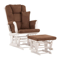 Stork Craft - Stork Craft Tuscany Glider and Ottoman with Free Lumbar Pillow in White with Cho - Stork Craft - Rocking Chairs Rockers - 06554591 - Available in 6 wood finishes and 4 fabric combinations to create your own custom Tuscany Glider and Ottoman. The Stork Craft Tuscany Glider and Ottoman set offers gentle motion while feeding your baby in those early morning hours. Featuring a solid construction with a magical sleigh design this is a royal centerpiece for your nursery. The enclosed metal ball-bearings allow for an incredibly smooth motion to glide your baby back to sleep. Micro fiber spot-cleanable cushions ease the worry about spills while the construction offers an exquisite finish you'll appreciate far beyond the baby years. The Tuscany Glider comes with a matching soft plush lumbar support pillow for supporting your baby during feeding times.
