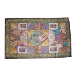Mogul Interior - Ethinc Wall Hagning Wall Art Decor Tapestry - This exquisite work of handmade Indian textile art is covered with intricate sequins.