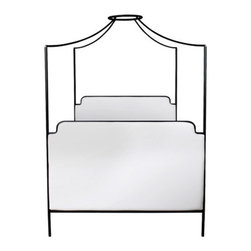 Cecile Iron Canopy Bed - This one is similar to the popular Anthropologie canopy bed, but it has extra detailing — namely the muslin upholstered head- and footboards. Drape it with beautiful fabric and bedding to match, and you'll be living in a fairytale.