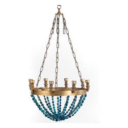 Ro Sham Beaux Gigi Chandelier, Blue Agate Beads - This turquoise chandelier with blue agate beads would be a colorful and romantic addition to an eating area.