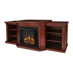 Real Flame - Valmont Entertainment Center Electric Fireplace in Dark Mahogany - 1400 Watt heater, rated over 4700 BTUs per hour