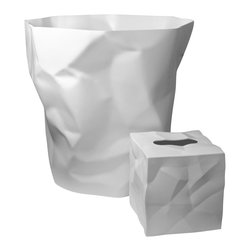 Essey of Denmark - Essey Bin Bin Waste Basket and Wipy Tissue Box Holder Set - This white bathroom set includes the Essey Bin Bin Wastebasket plus the Wipy cube tissue holder. Bin Bin has been designed to look like the crumpled paper that it is intended to hold. Wipy has a similar crumpled paper look. Bin Bin measures about 13 inches high and 13 inches across the top. Wipy is 5 x 5 x 5 inches. Bin Bin is made of hard polyethylene in Germany. Wipy is made of thermoplastic elastomer in Finland. Available in white, red, or black. Free domestic shipping.