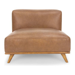 Bryght - Tan Brown Leather Mid-Century Modern Chair | Snug Mid-Century Modern Furniture - Masculine appeal with vintage vibes. Bring style into your bachelor pad with the Snug chair. Each hide used for upholstery is as unique as a finger print. Natural color variations, wrinkles and creases are part of the unique characteristics of genuine leather.