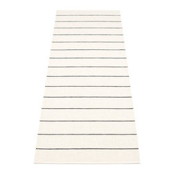 Pappelina - Pappelina LINN plastic runner, Vanilla/Black - This  rug from Pappelina, Sweden, uses PVC-plastic and polyester-warp to give it ultimate durability and clean-ability. Great for decks, bathrooms, kitchens and kid's rooms.