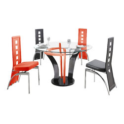 "American Eagle Furniture - 506DT & 104CH Black and Red 47"" Glass Top 5 Piece Dining Set - The 506DT & 104CH dining set is a great addition for any dining room that needs a touch modern design. The dining table has a round clear glass top with a 47"" diameter. The base of the table features a unique multicolored red and black flared out very modern design. The chairs come upholstered in a stunning black and red vinyl material with high density foam placed within the cushion for added comfort. The chairs have a unique open square design on the back that adds to the overall look. The frame of the chairs are crafted from polished stainless steel with the backrests extending down to the legs. The dining set consist of a dining table and four chairs only."