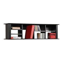Prepac - Prepac Black Sonoma Wall Hutch - Prepac - Hutch - With its unique design this wall hutch can be mounted above the Sonoma Computer Desk (sold separately) to store books papers and computer disks. It can also be used on its own as a floating bookcase for collectibles and accessories.