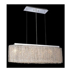 Elegant Lighting - Moda Clear Crystal Chandelier w 6 Lights in Chrome (Elegant Cut) - Choose Crystal: Elegant Cut. 6 ft. Chain/Wire Included. Bulbs not included. Crystal Color: Crystal (Clear). Chrome finish. Number of Bulbs: 6. Bulb Type: GU10. Bulb Wattage: 55. Max Wattage: 330. Voltage: 110V-125V. Assembly required. Meets UL & ULC Standards: Yes. 32 in. W x 9.5 in. D x 11 in. H (30lbs.)Description of Crystal trim:Royal Cut, a combination of high quality lead free machine cut and machine polished crystals & full-lead machined-cut crystals..SPECTRA Swarovski, this breed of crystal offers maximum optical quality and radiance. Machined cut and polished, a Swarovski technician¢s strict production demands are applied to this lead free, high quality crystal.Strass Swarovski is an exercise in technical perfection, Swarovski ELEMENTS crystal meets all standards of perfection. It is original, flawless and brilliant, possessing lead oxide in excess of 39%. Made in Austria, each facet is perfectly cut and polished by machine to maintain optical purity and consistency. An invisible coating is applied at the end of the process to make the crystal easier to clean. While available in clear it can be specially ordered in a variety of colors.Not all trims are available on all models.
