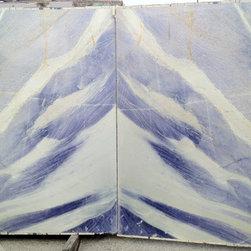 Royal Stone & Tile Slab Yard in Los Angeles - Azul Impreiale Quartzite Granite Bookmatched slabs at Royal Stone & Tile in Los Angeles