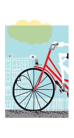 strawberryluna - Bicycle Love Hand Silkscreen Print Going To See My Baby Blue - Love love love! Everyone falls in love. What's more romantic and lovely than a bicycle ride on a gorgeous day to see your sweetheart?