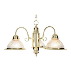 AF LIGHTING - 3-Light Halophane Glass Chandelier, Polished Brass - This halophane dome ceiling fixture features the timeless allure of clear swirled glass with polished brass accents.
