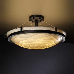Justice Design Group - Justice Design Group PNA-9682-35-WAVE 6 Light Semi-Flush Ceiling Fixture with 27 - Features: