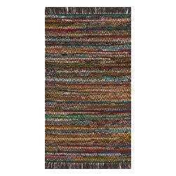 "Loloi Rugs - Loloi Rugs Gillian Collection - Brown, 2'-3"" x 3'-9"" - The richly colored jewel tones of Gillian belie the casual weave of this contemporary chindi design, offering something that is both sophisticated yet relaxed. Made in India of soft-to-the-touch cotton, Gillian has fringe detailing for added style."