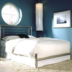 "Leggett/Platt Fashion Bed - Chloe Modern Iron Bed in Satin Finish (Full) - Choose Size: FullThere's nothing quite as stylish and classic as an iron bed.  The smooth lines of this lovely bed include headboard, footboard and metal frame in a satin metal finish, and the result is stunning.  Sometimes the best designs are the simplest ones, and that's certainly the case here.  Available in full, queen and king sizes.  Available in full, queen, and king size frames this simple but beautiful bed will look great in any room. * Bed comes complete with headboard, footboard, and frame. Brass, plated brass, painted metal and finished wood. 10 yr manufacturer limited warranty. Satin metal finish. Not Included - Linens and Mattress. Headboard: 48"" H. Foot Board: 14 7/8"" H"
