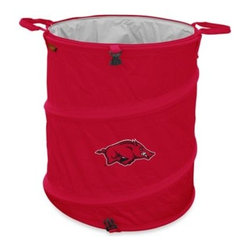 Logo Chair Inc - University of Arkansas 3-in-1 Trash Can/Cooler - This 3-in-1 trash can/cooler/hamper will come in handy, whether you share a dorm room or other small space. Piece is collapsible and has a PVC leak-proof lining.