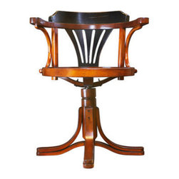 """Handcrafted Model Ships - Purser's Chair, Black 31"""" - Nautical Decor - Striking, yet unassuming, our Purser's Chair is the answer to many requests for a desk chair to match our collection of desks. The classic design goes back to utilitarian furniture from the Belle epoque. Handmade in hardwood, this chair will survive the ages when treated with respect. Wrought iron hardware."""