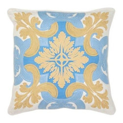 """Villa Home - Pair of Mediterraneo Venice Blue and Gold Pillows by Villa Home - Suzani inspired, the Mediterraneo Venice Blue & Gold Pillows by Villa Home are colorfully printed and then embroidered for added punch. On linen blend fabric, playful medallions with scrolls of leafs and vines add vibrancy to your interiors. (VH) Sold as a pair. Feather down inserts included. 18"""" wide x 18"""" high"""
