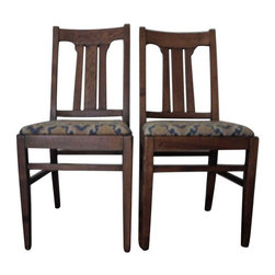 Heywood-Wakefield - Pre-owned Heywood-Wakefield Arts & Crafts Chairs - A Pair - A beautiful pair of Arts & Crafts, Mission style chairs with the label Heywood-Wakefield. The chairs were likely made in the 1930s based on the label located on the back of the seats. They are sturdy, and the seat can be removed to change the upholstery. It has already been changed a couple of times. These chairs can fit in any contemporary furnished home, and they would be perfect fro the Arts & Crafts or Mission style historic home.