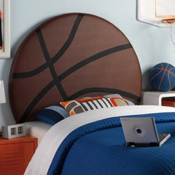 Powell Upholstered Basketball Twin Headboard - The perfect centerpiece for your little basketball fan's room, the Powell Upholstered Basketball Twin Headboard is shaped like a huge basketball! It's made durable with a basketball shaped wood frame and upholstered in brown and black polyurethane. This basketball headboard is easy to clean and attached to twin size bed rails. Just right for the little basketball fan in your life. More About Powell FurnitureBased in Culver City, Calif., the Powell company designs, imports, and distributes occasional, dining, accent, and youth furniture across all style categories. Since 1968, Powell has grown to become one of the most recognized names in the home furniture industry. From sturdy, safe children's furniture to elegant bedroom and other home collections, Powell continues to develop new and exciting designs for homes around the globe.
