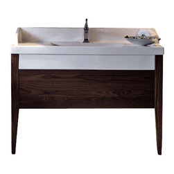 "WS Bath Collections - Bentley 3935D Bathroom Vanity Unit with Drawer Unit 47.2"" x 19.7"" - Bentley 3935D by Wes Bath Collections, Bathroom Vanity Unit, Includes Ceramic Bathroom Sink with One or Three Faucet Holes, Two (2) Wooden Legs, and Drawer Unit"