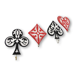Set of 4 Game Suit Wall Hooks - Bedeck your walls with these wall hooks! Designed to resemble the suits on a deck of playing cards, they would add an element of fun to your walls. They are crafted of resin and hand painted with ornate detail. Each measuring approximately 7.5 inches tall, 5.25 inches wide and 1 inch deep. You could group them together or display them as separate pieces and hang keys, scarves or flashlights. They would make a delightful gift, too!